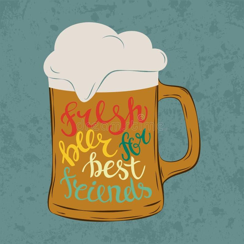 Γυαλί πιντών μεγάλων κυπέλλων ή goblet γυαλικών, κούπα ή κανάτα με την κρύα μπύρα και αφρός στο φραγμό, επιστολές που λέει τη φρέ ελεύθερη απεικόνιση δικαιώματος
