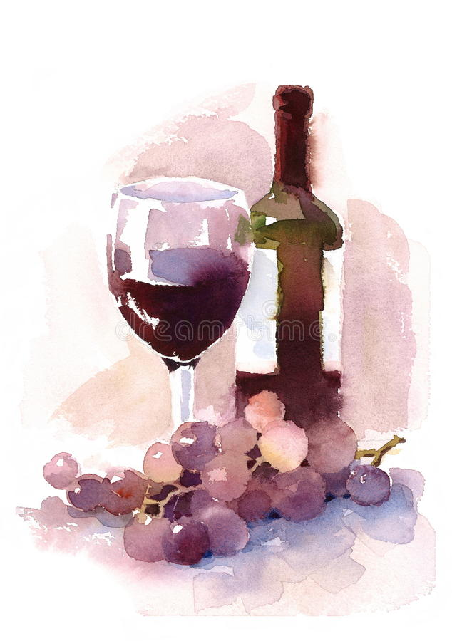 Γυαλί του χεριού απεικόνισης μπουκαλιών κόκκινου κρασιού και Watercolor σταφυλιών που σύρεται ελεύθερη απεικόνιση δικαιώματος
