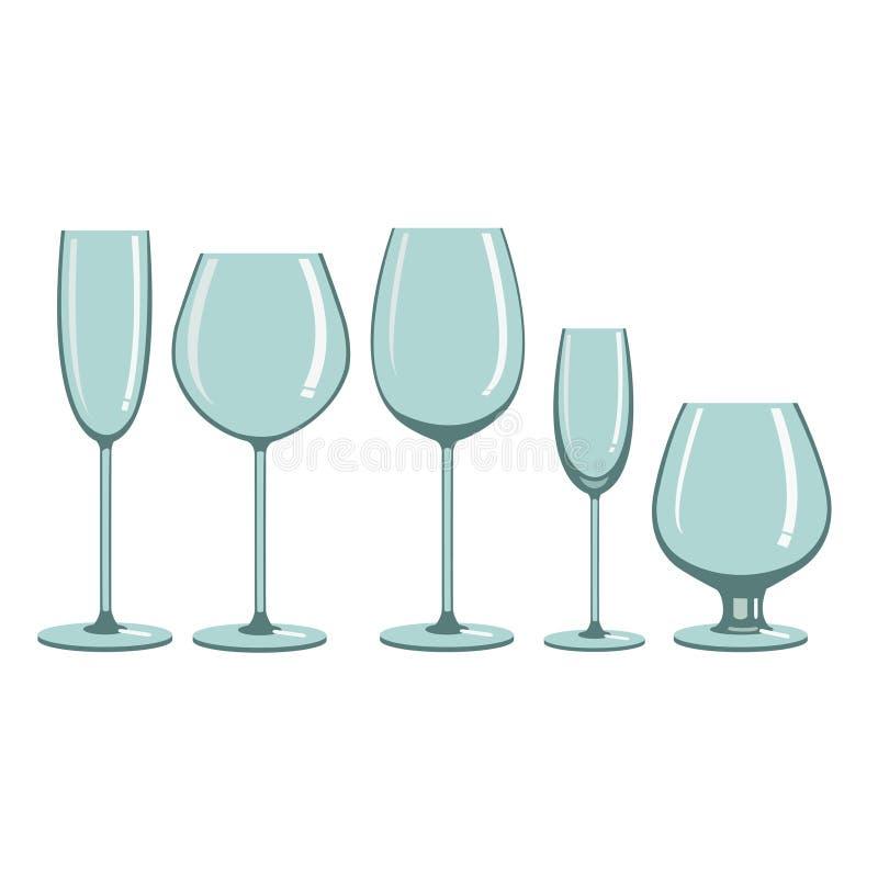 Γυαλιά για τα οινοπνευματώδη ποτά απεικόνιση αποθεμάτων