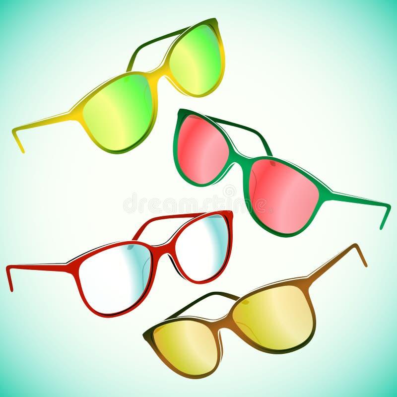 Γυαλιά ηλίου Hipster καθορισμένα διανυσματική απεικόνιση