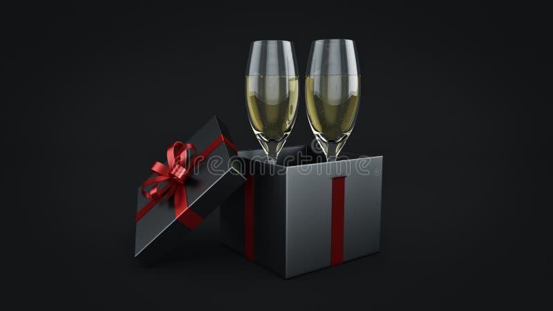 Γυαλιά και δώρα CHAMPAGNE έτοιμα να φέρουν στο νέο έτος ελεύθερη απεικόνιση δικαιώματος