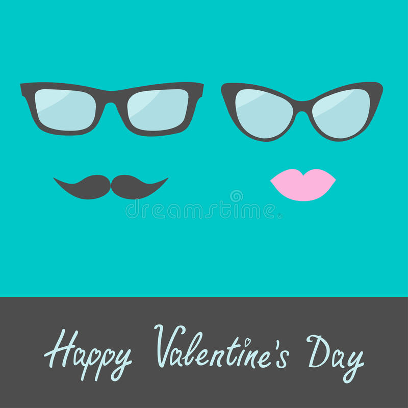 Γυαλιά με τα χείλια και moustache. Επίπεδο σχέδιο. Ευτυχείς βαλεντίνοι Δ διανυσματική απεικόνιση
