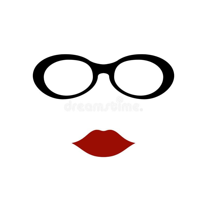 Γυαλιά με τα χείλια ελεύθερη απεικόνιση δικαιώματος