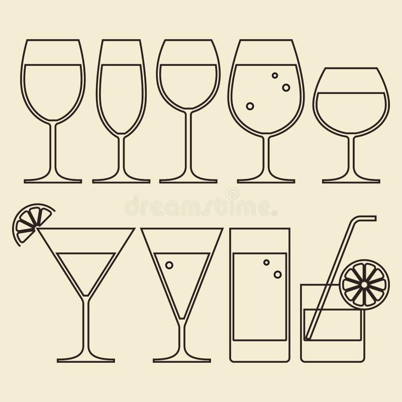 Γυαλιά οινοπνεύματος, κρασιού, μπύρας, κοκτέιλ και νερού απεικόνιση αποθεμάτων