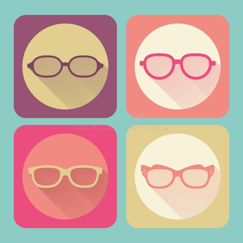 γυαλιά σύγχρονα Επίπεδη διανυσματική συλλογή εικονιδίων με τη μακριά σκιά EF διανυσματική απεικόνιση