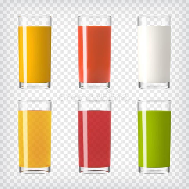 Γυαλιά χυμού και γάλακτος καθορισμένα ελεύθερη απεικόνιση δικαιώματος