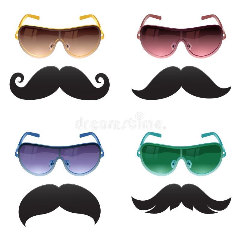 Γυαλιά Geek και moustache διανυσματικά εικονίδια διανυσματική απεικόνιση