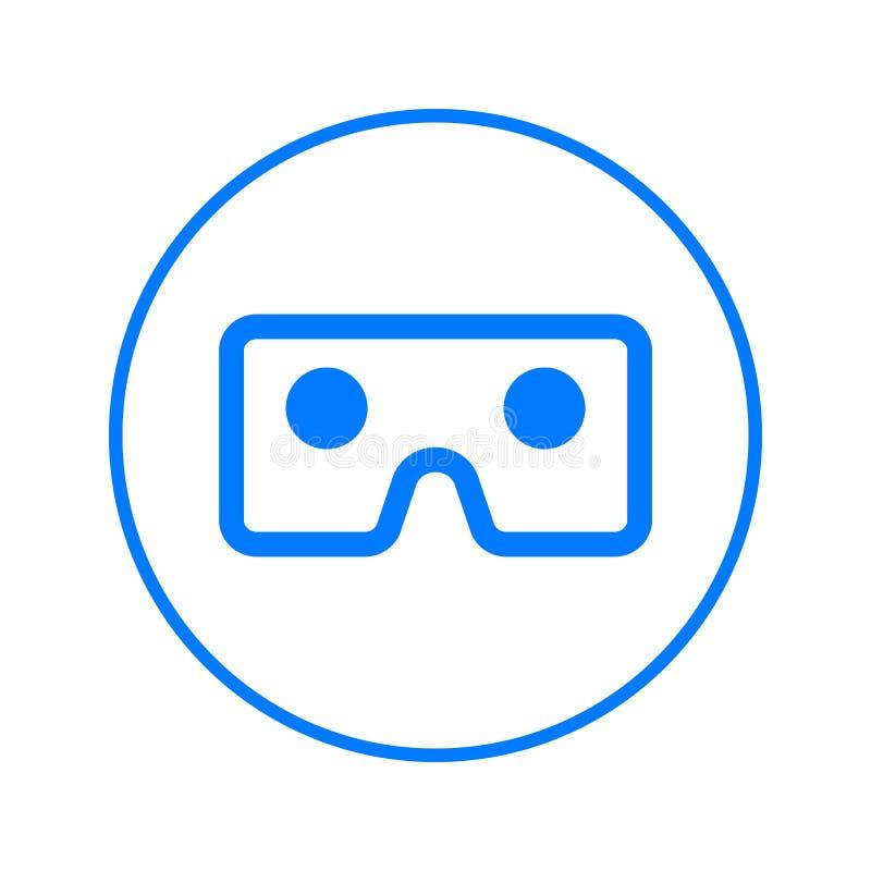 Γυαλιά Vr, κυκλικό εικονίδιο γραμμών χαρτονιού εικονικής πραγματικότητας Στρογγυλό ζωηρόχρωμο σημάδι Επίπεδο διανυσματικό σύμβολο απεικόνιση αποθεμάτων