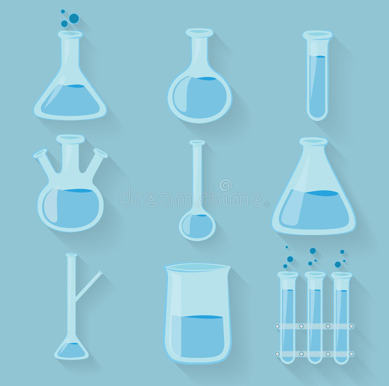 Γυαλικά εργαστηριακών χημικά μπουκαλιών διάνυσμα διανυσματική απεικόνιση
