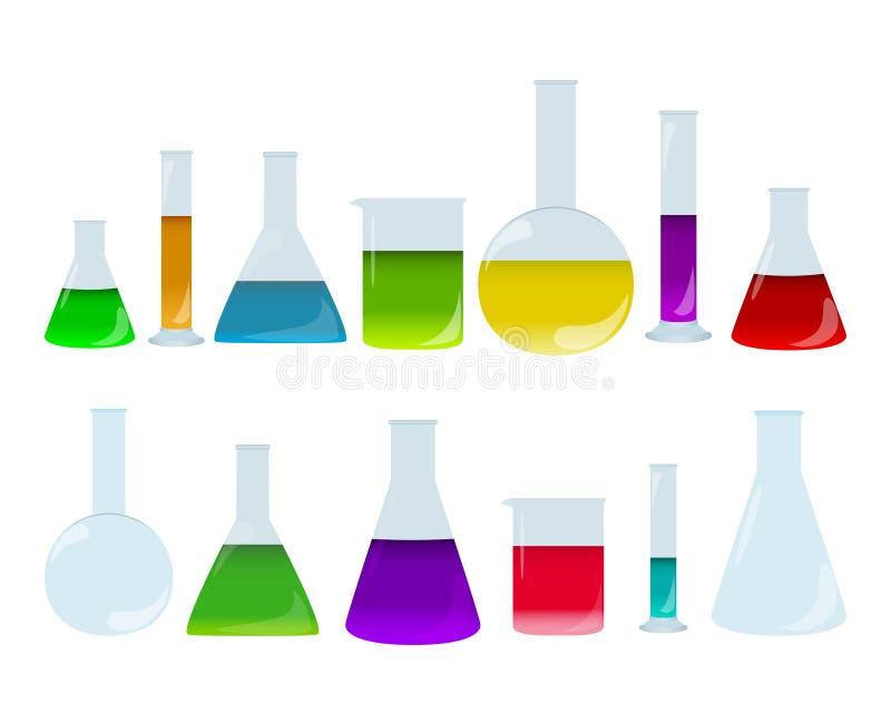 Γυαλικά που τίθενται εργαστηριακά με τα χρωματισμένα υγρά Ομάδα εξαρτημάτων χημείας Πιάτα ιατρικών εξετάσεων διανυσματική απεικόνιση