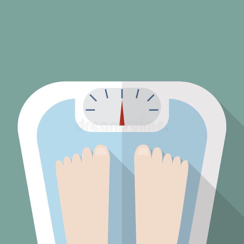 Γυμνά πόδια στην κλίμακα βάρους απεικόνιση αποθεμάτων