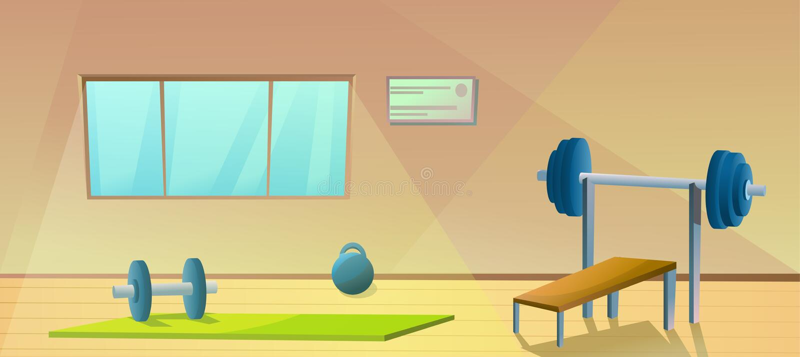 Γυμναστική με το παράθυρο Αθλητικό εσωτερικό με τα barbells Υγιής γυμναστικός Δωμάτιο ικανότητας r διανυσματική απεικόνιση