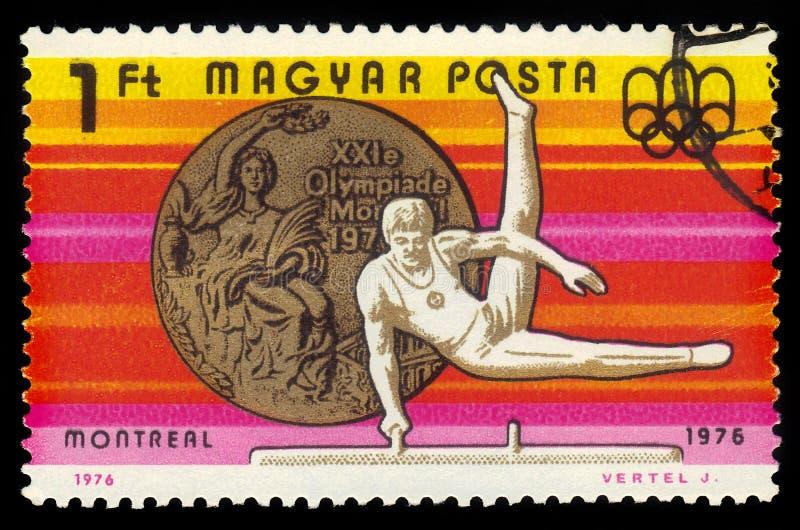 Γυμναστική, Ολυμπιακοί Αγώνες του 21$ου καλοκαιριού, Μόντρεαλ 1976 στοκ εικόνα με δικαίωμα ελεύθερης χρήσης
