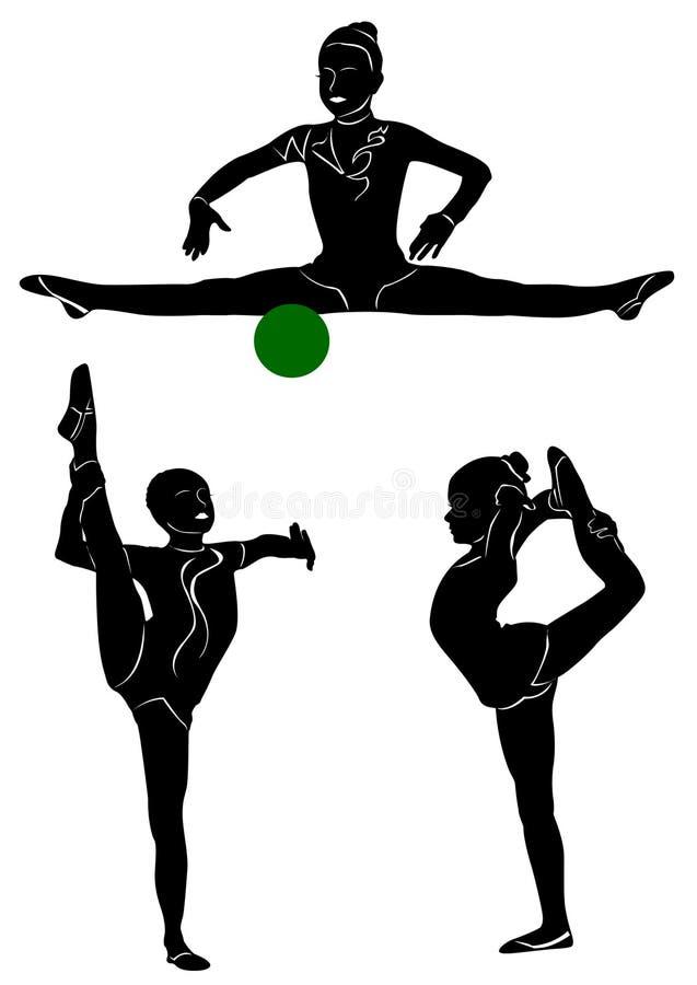 Γυμναστική σκιαγραφία κοριτσιών απεικόνιση αποθεμάτων