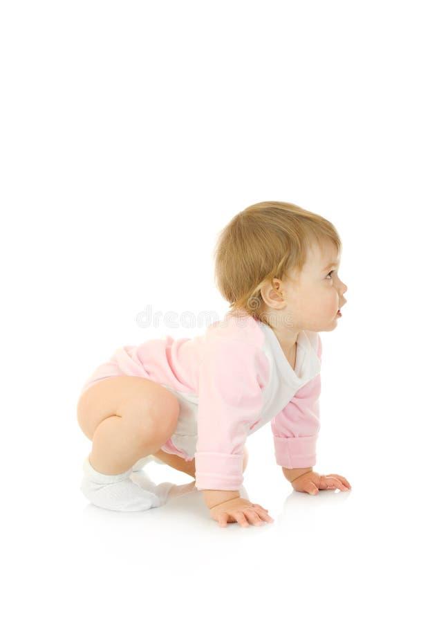 γυμναστικός άσκησης μωρών που απομονώνεται κάνει μικρός στοκ φωτογραφία