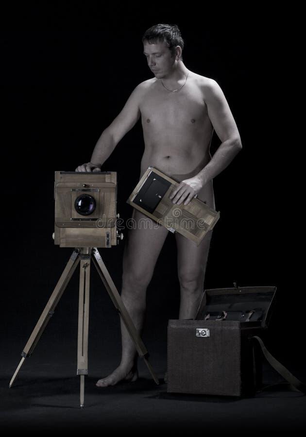 γυμνός φωτογράφος στοκ φωτογραφίες