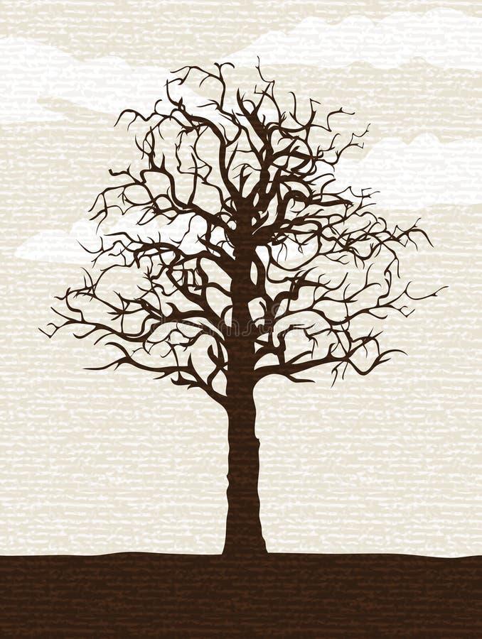 γυμνό απομονωμένο δέντρο διανυσματική απεικόνιση