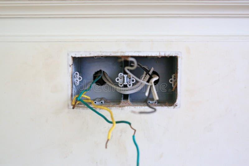 Γυμνό καλώδιο στον τοίχο σπιτιών Επισφαλής και επικίνδυνος στοκ φωτογραφίες με δικαίωμα ελεύθερης χρήσης