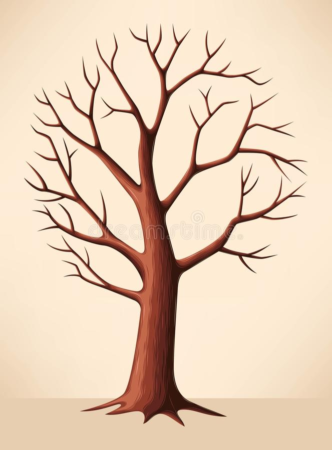 Γυμνό καφετί δέντρο διανυσματική απεικόνιση