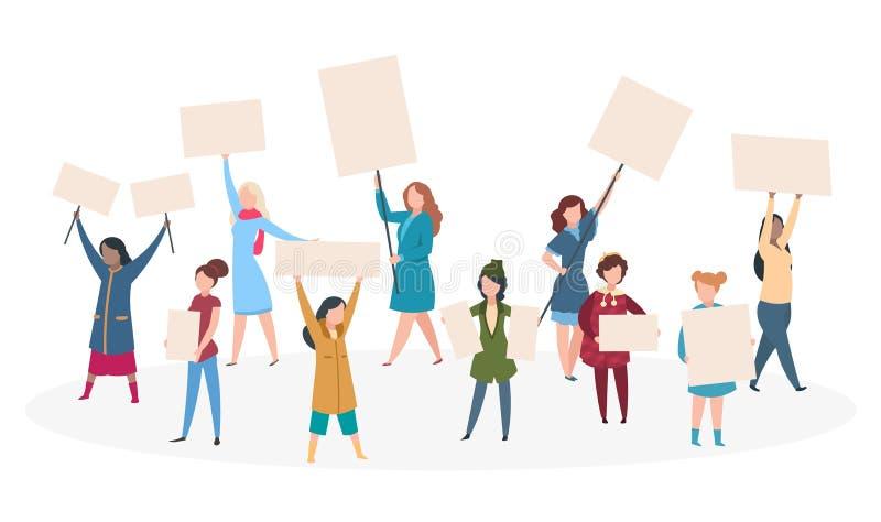 Γυναίκας διαμαρτυρίας Φεμινισμός κοριτσιών με την αφίσσα στην εκδήλωση, επίδειξη γυναίκα δικαιωμάτων έννοι& απεικόνιση αποθεμάτων