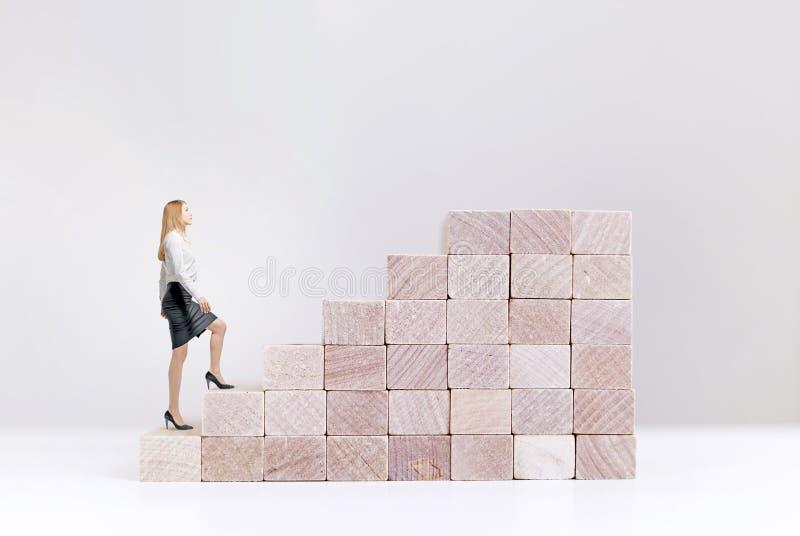 Γυναίκα έννοιας επιτυχίας που αναρριχείται στα σκαλοπάτια στοκ εικόνες με δικαίωμα ελεύθερης χρήσης