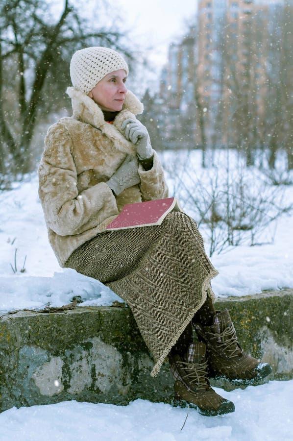 Γυναίκα έτοιμη ένα βιβλίο το χειμώνα στοκ φωτογραφία