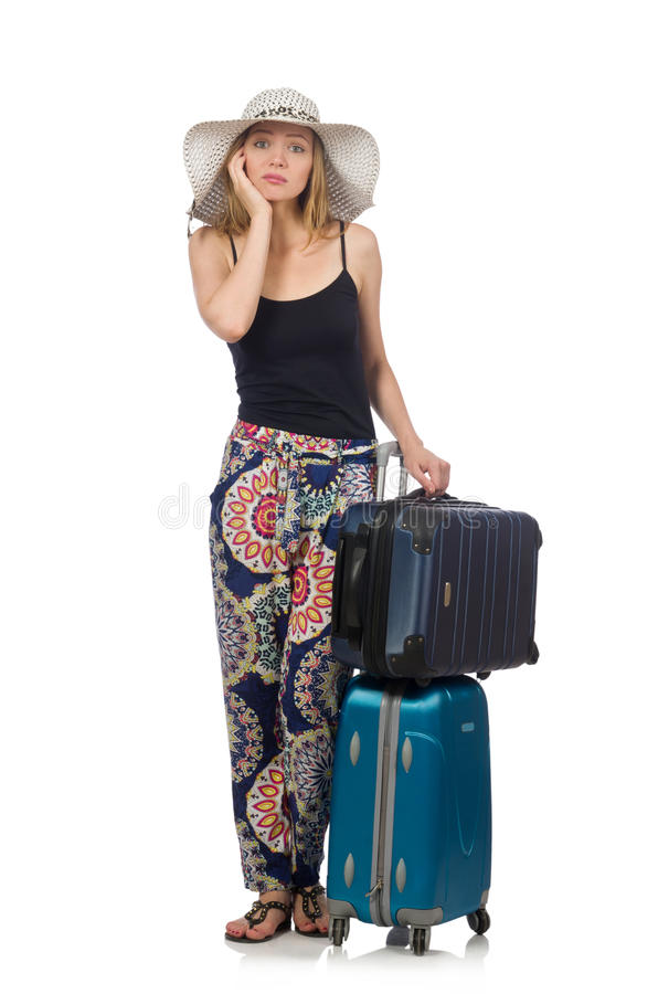 Download Γυναίκα έτοιμη για το θερινό ταξίδι που απομονώνεται στο λευκό Στοκ Εικόνες - εικόνα από καπέλο, πίεση: 62710170