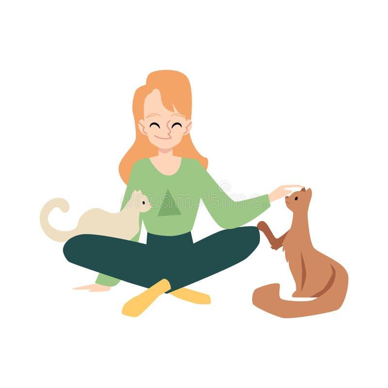 Γυναίκα ή κυρία με τις γάτες της την επίπεδη διανυσματική απεικόνιση που απομονώνεται που ασκεί διανυσματική απεικόνιση