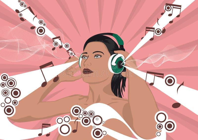 γυναίκα ακουστικών στοκ εικόνες