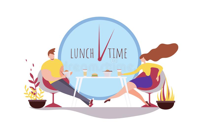 Γυναίκα ανδρών κινούμενων σχεδίων που τρώει μαζί το χρονικό καφέ μεσημεριανού γεύματος διανυσματική απεικόνιση
