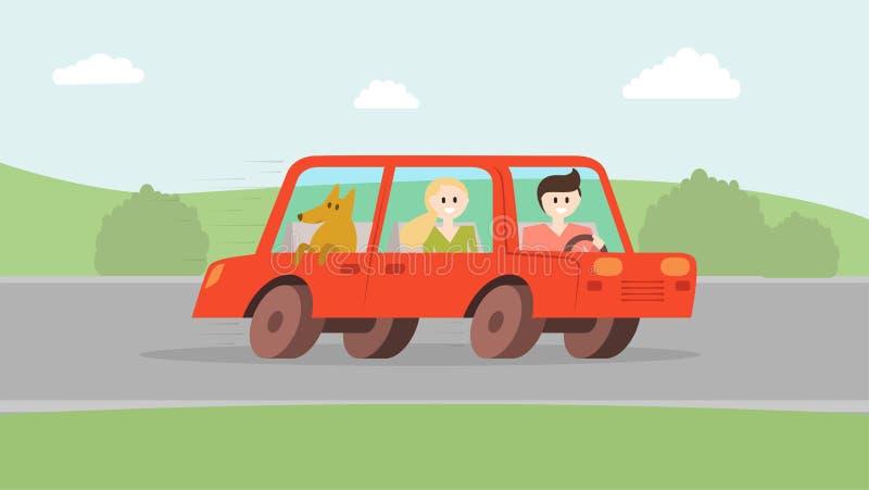 Γυναίκα ανδρών με το σκυλί που πηγαίνει με το αυτοκίνητο διανυσματική απεικόνιση