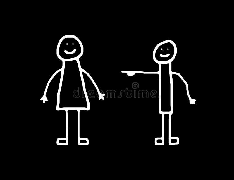 γυναίκα ανδρών bw απεικόνιση αποθεμάτων