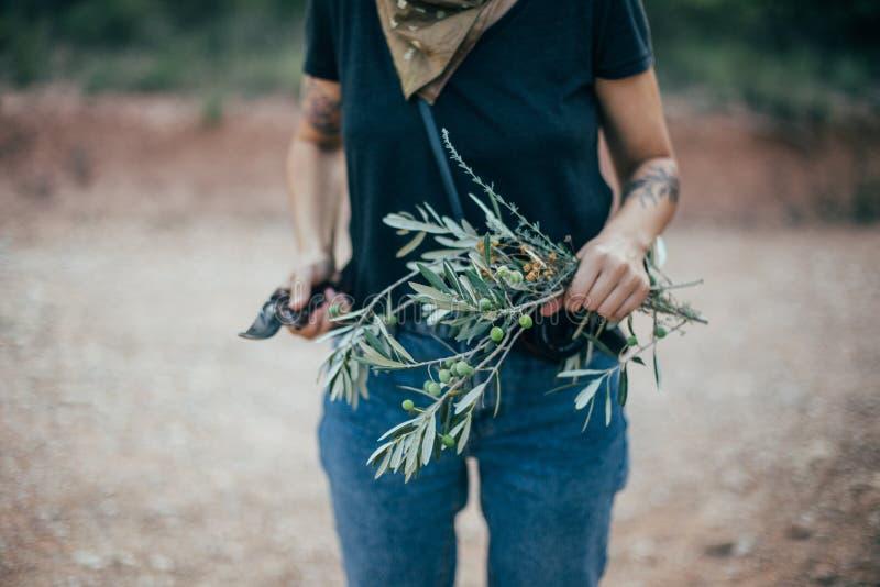 Γυναίκα ανθοκόμων με τα κλαδί ελιάς στοκ φωτογραφίες με δικαίωμα ελεύθερης χρήσης