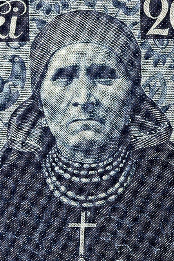 Γυναίκα από τη Σιλεσία στο εθνικό κοστούμι, ένα πορτρέτο από τα παλαιά πολωνικά χρήματα στοκ εικόνα