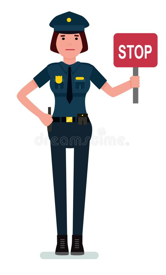 Γυναίκα αστυνομικός που κρατά ένα σημάδι στάσεων Αστυνομικίνα χαρακτήρα κινουμένων σχεδίων που απομονώνεται στο άσπρο υπόβαθρο δι ελεύθερη απεικόνιση δικαιώματος