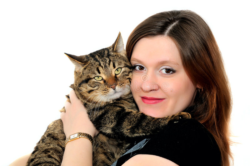 γυναίκα γατών στοκ φωτογραφία