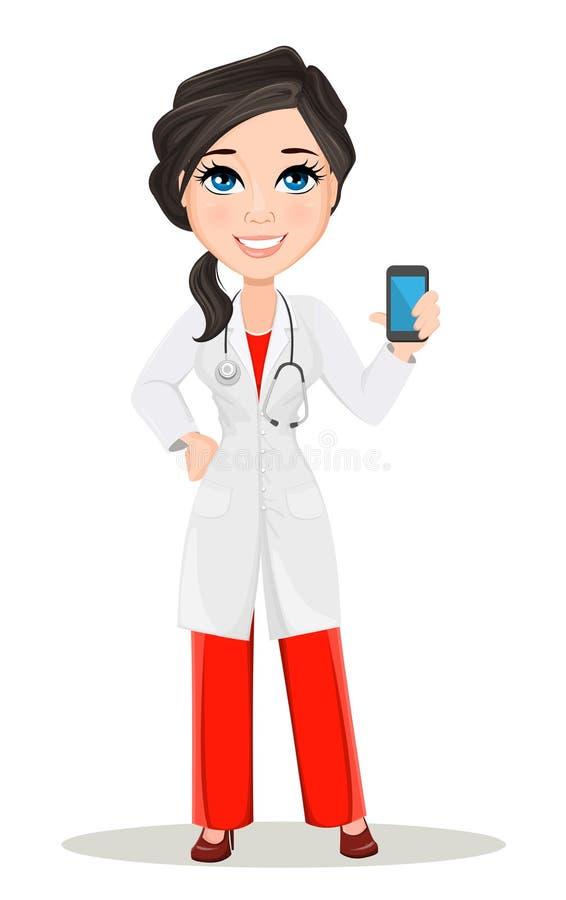 Γυναίκα γιατρών με το στηθοσκόπιο Χαριτωμένος χαρακτήρας γιατρών κινούμενων σχεδίων χαμογελώντας στο ιατρικό smartphone εκμετάλλε ελεύθερη απεικόνιση δικαιώματος