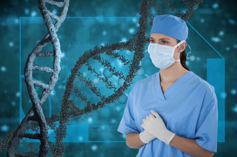 Γυναίκα γιατρών που στέκεται με τα τρισδιάστατα σκέλη DNA στο μπλε κλίμα στοκ εικόνες