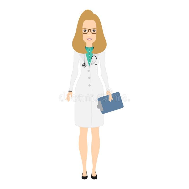 Γυναίκα γιατρών στην ιατρική εσθήτα με το στηθοσκόπιο Χαριτωμένος χαρακτήρας γιατρών κινούμενων σχεδίων επίσης corel σύρετε το δι διανυσματική απεικόνιση