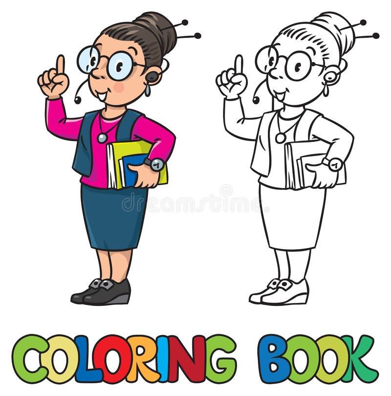 Γυναίκα γραμματέων ή ρεσεψιονίστ γραφική απεικόνιση χρωματισμού βιβλίων ζωηρόχρωμη ελεύθερη απεικόνιση δικαιώματος