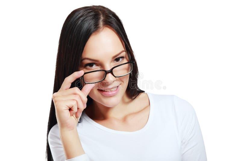 Γυναίκα γυαλιών ευτυχής στοκ εικόνα με δικαίωμα ελεύθερης χρήσης