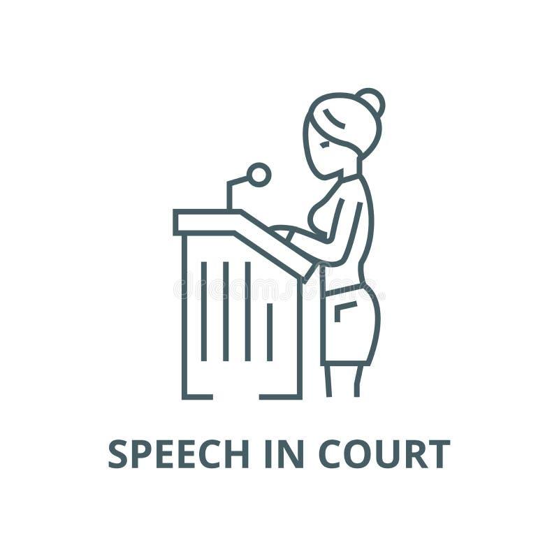 Γυναίκα δικηγόρων, εικονίδιο λεκτικών στο δικαστήριο διανυσματικό γραμμών, γραμμική έννοια, σημάδι περιλήψεων, σύμβολο ελεύθερη απεικόνιση δικαιώματος