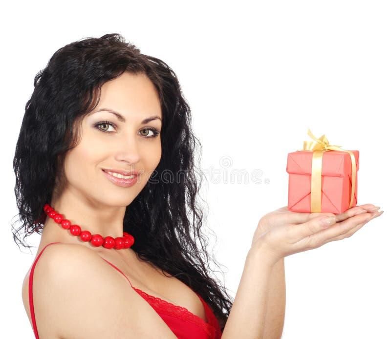 γυναίκα δώρων κιβωτίων στοκ φωτογραφία