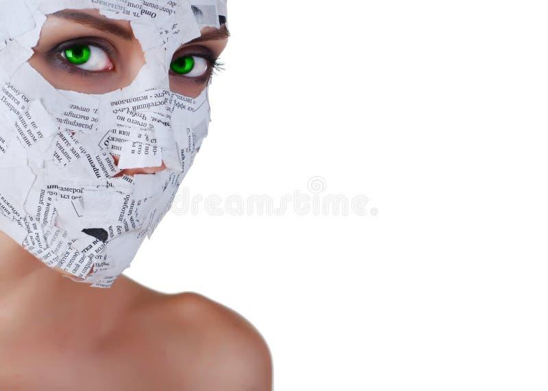 γυναίκα εγγράφου μασκών στοκ εικόνες με δικαίωμα ελεύθερης χρήσης