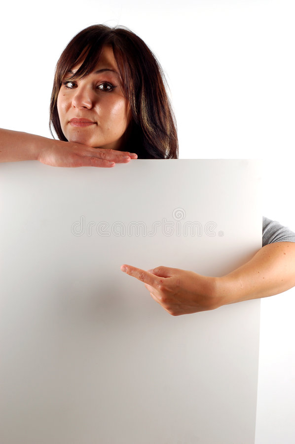 γυναίκα εκμετάλλευσης 11 εμβλημάτων στοκ φωτογραφία