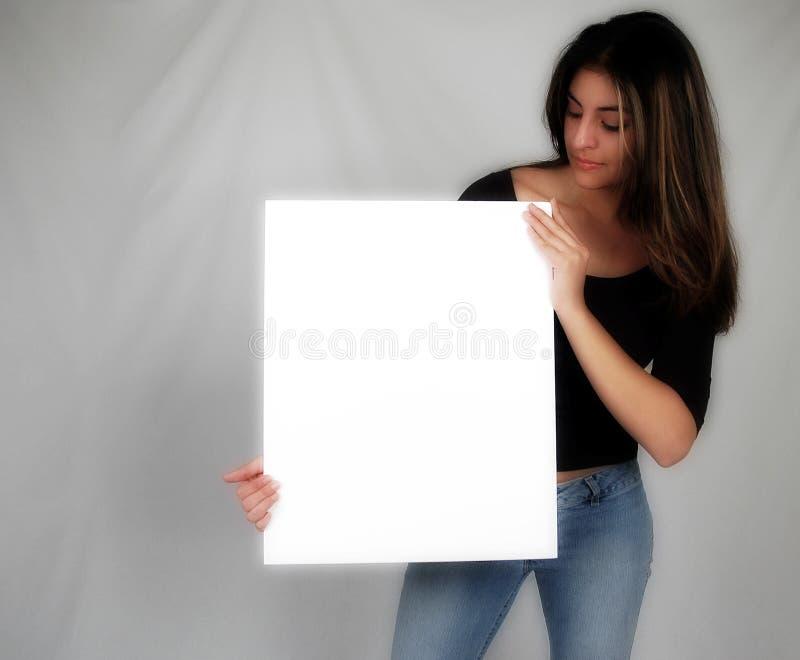 Download γυναίκα εκμετάλλευσης 8 χαρτονιών Στοκ Εικόνες - εικόνα από κορίτσι, περιστασιακός: 59842