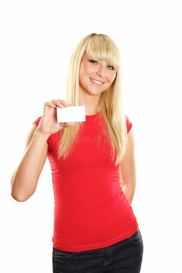 Γυναίκα επαγγελματικών καρτών στοκ φωτογραφίες με δικαίωμα ελεύθερης χρήσης