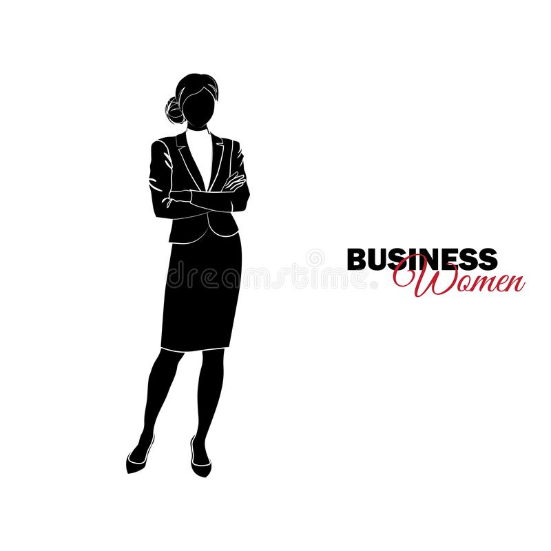 γυναίκα επιχειρησιακών &kapp Η επιχειρηματίας δίπλωσε τα όπλα της πέρα από το στήθος της απεικόνιση αποθεμάτων
