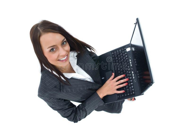 γυναίκα επιχειρησιακών lap-t στοκ φωτογραφίες