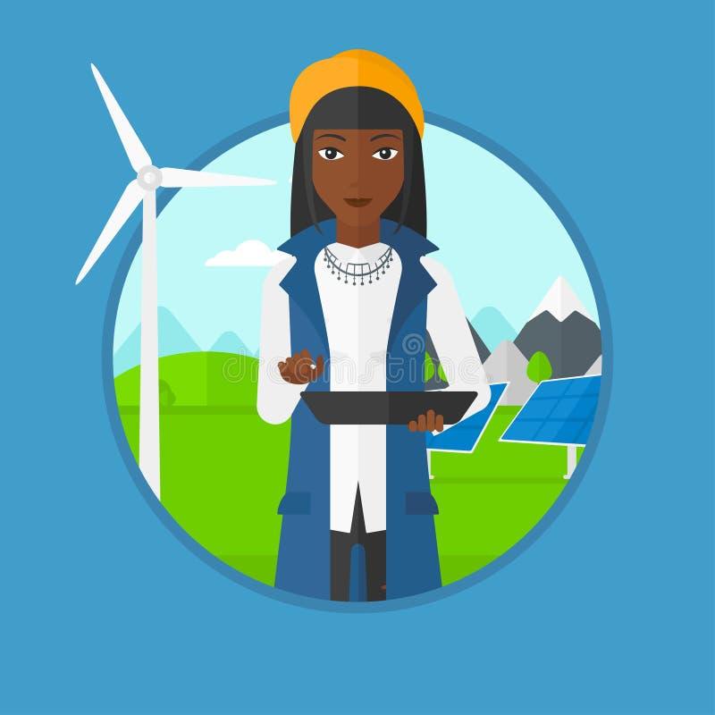 Γυναίκα εργαζόμενος των εγκαταστάσεων ηλιακής ενέργειας και του αιολικού πάρκου απεικόνιση αποθεμάτων